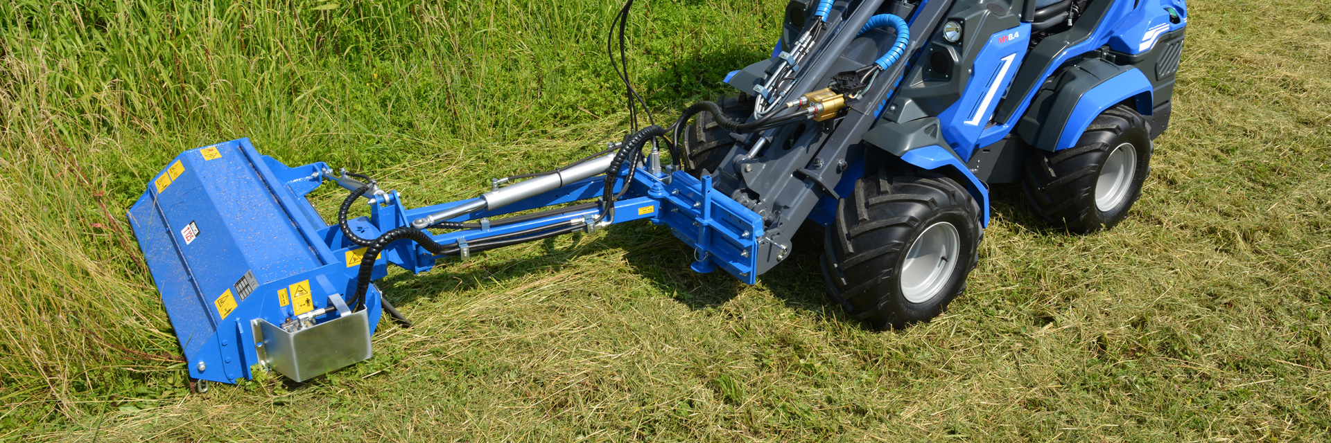 mini excavator flail mower with side shift